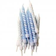 12 Candele a pois e righe Blu/bianco