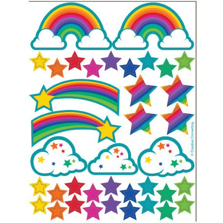 2 fogli di adesivi Rainbow Glitter Stickers