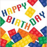 Contiene : 1 x 16 Tovaglioli Block Party Happy Birthday