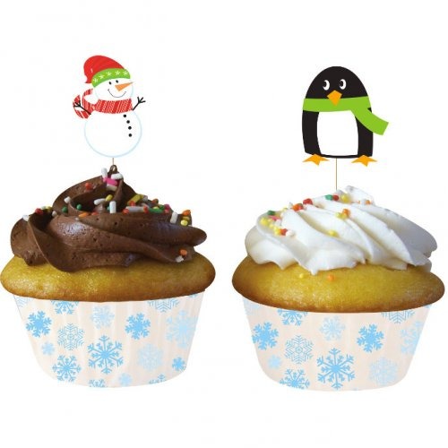 Kit 12 Pirottini e decorazioni per cupcake Xmas Friends
