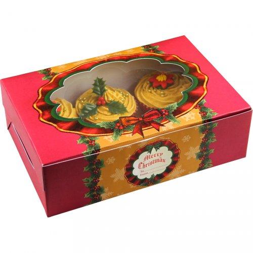 2 scatole per Cupcake e Biscotti Natale Retrò