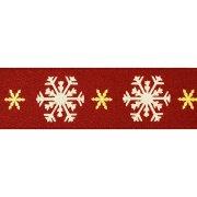 Nastro fiocchi di neve rosso (raso)