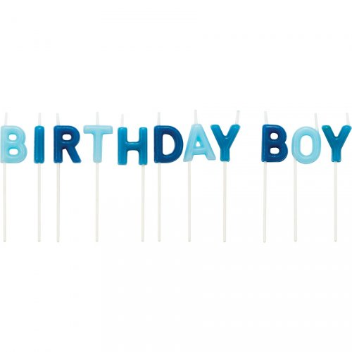 11 mini candele lettere Happy Birthday Boy