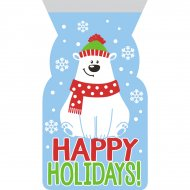 12 Sacchetti regalo in cellofan Orso polare Happy Hollidays