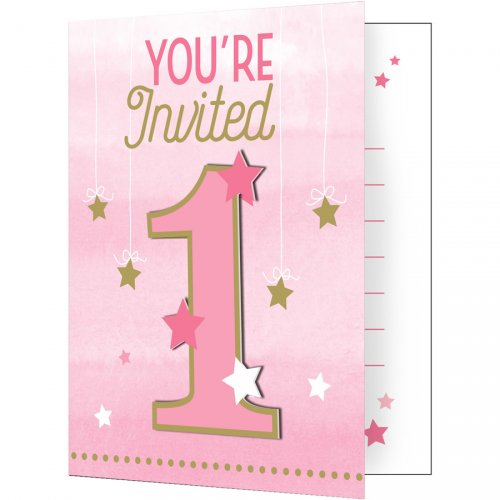 8 Inviti 1 Anno Little Star Baby Girl
