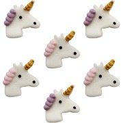 6 Teste di unicorno (3,5 cm) - Pasta di zucchero