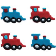 4 Decorazioni in pasta di zucchero (4 cm) - Locomotiva