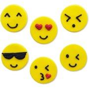 6 Decorazioni Smiley Emoticon (3 cm) - Zucchero