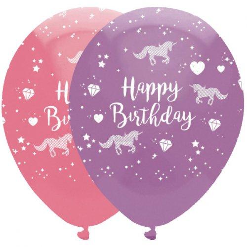 6 Palloncini Happy Birthday Unicorno Magico