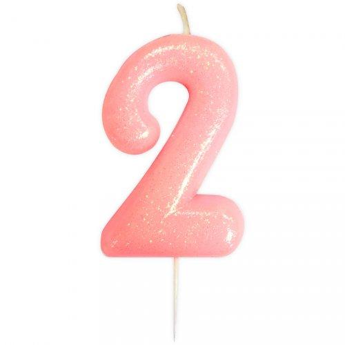 Candela Rosa Glitter Numero 2 (7 cm)