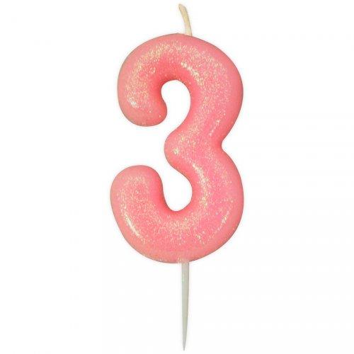 Candela Rosa Glitter Numero 3 (7 cm)
