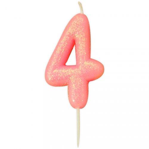 Candela Glitter rosa numero 4 (7 cm)