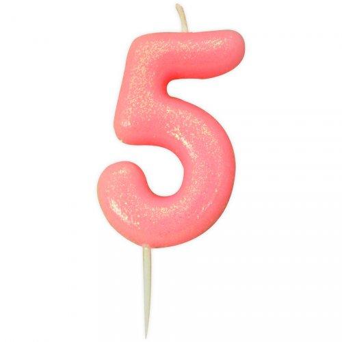 Candela Rosa Glitter Numero 5 (7 cm)