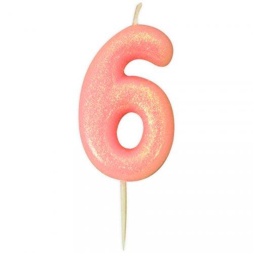 Candela Rosa Glitter Numero 6 (7 cm)