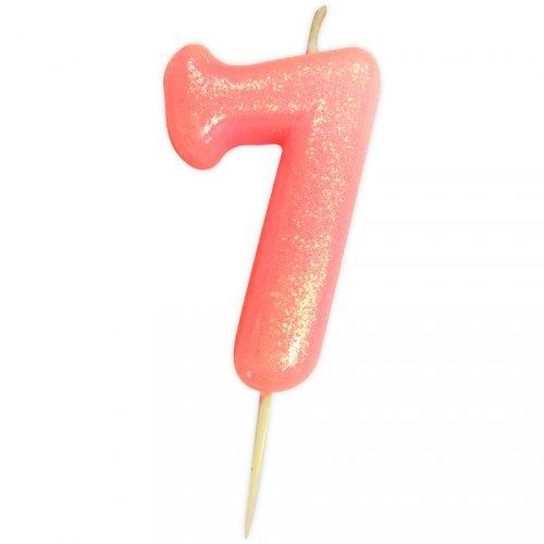 Candela Rosa Glitter Numero 7 (7 cm)