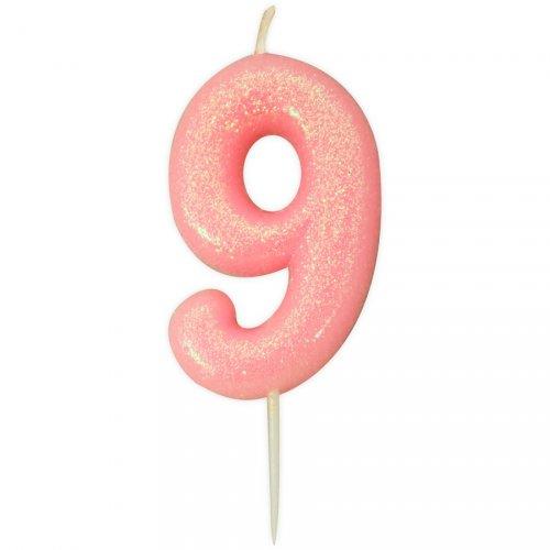 Candela Rosa Glitter Numero 9 (7 cm)