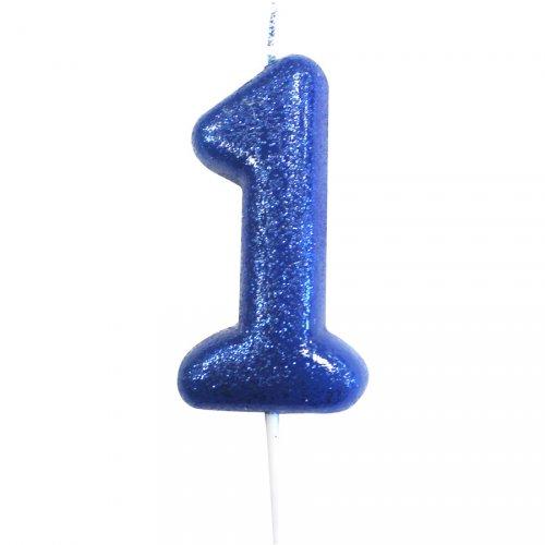 Candela Blu Glitter Numero 1 (7 cm)