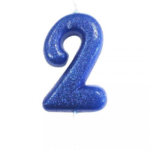 Candela Blu Glitter Numero 2 (7 cm)