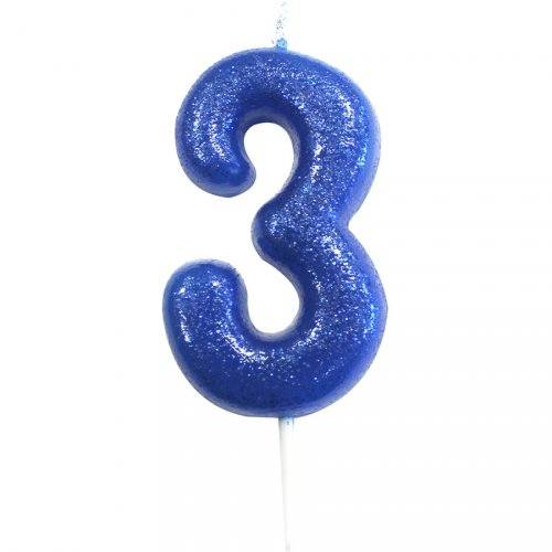 Candela Blu Glitter Numero 3 (7 cm)