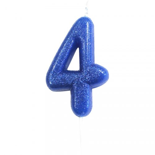 Candela Blu Glitter Numero 4 (7 cm)