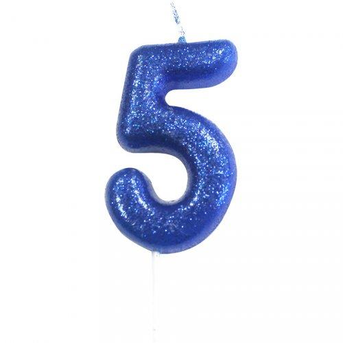 Candela Blu Glitter Numero 5 (7 cm)