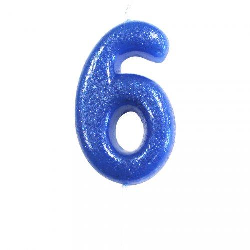 Candela Blu Glitter Numero 6 (7 cm)