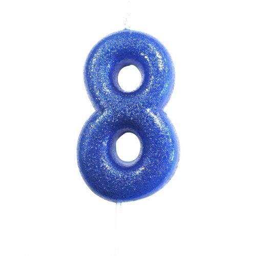 Candela Blu Glitter Numero 8 (7 cm)