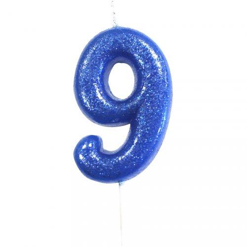 Candela Blu Glitter Numero 9 (7 cm)