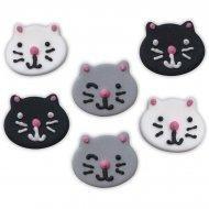 6 Decorazioni in pasta di zucchero (2,5 cm) - Teste di gatto