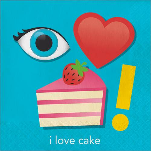 "16 Tovaglioli rebus ""I Love Cake"""