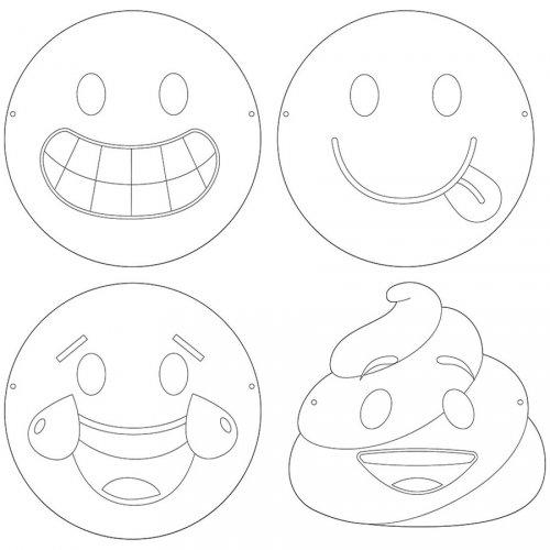 12 Maschere da colorare Emoticon Crazy