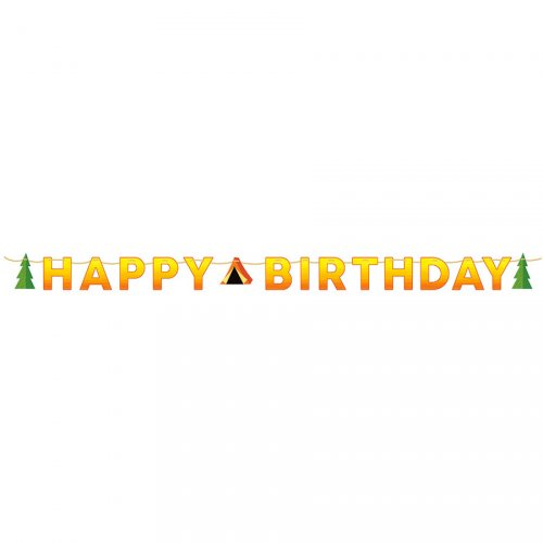 Ghirlanda Happy Birthday fuoco di bivacco (1,67 m)
