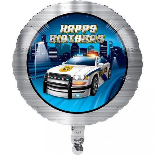 Palloncino piatto Happy Birthday Pattuglia di Polizia