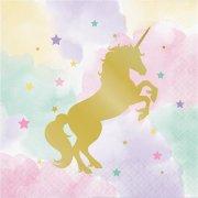 16 Tovaglioli Unicorno Rainbow Pastello