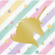 16 Tovagliolini Unicorno Rainbow Pastello