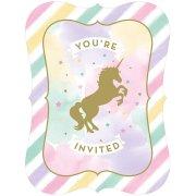 8 Inviti Unicorno Rainbow Pastello