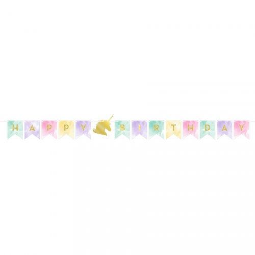 Ghirlanda Happy Birthday unicorno arcobaleno pastello (1,67 m)