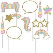 Kit 10 Stand Foto Unicorno Rainbow colori pastello