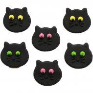 6 Decorazioni piatte in pasta di zucchero (3 cm) - Gatti neri