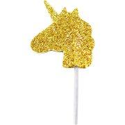 12 Stecchini con unicorno glitter oro (7 cm)