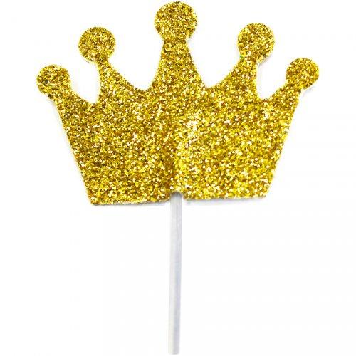 12 Stecchini con corona glitter oro (8 cm)