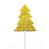 12 Stecchini decorativi Abeti Glitter Oro (7 cm)