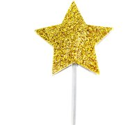 12 Stecchini decorativi Stelle Glitter Oro (7 cm)