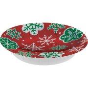 8 piatti fondi Fiocchi di neve Rosso e Verde (18 cm)