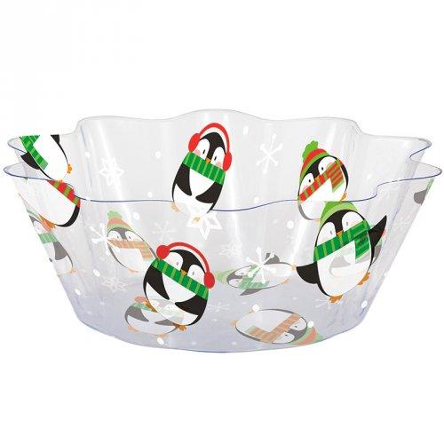 Piccola insalatiera di Natale Pinguini (20 cm) - Plastica