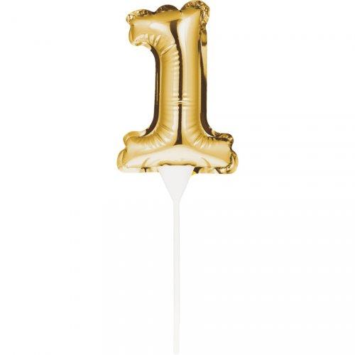 Decorazione per torta - Palloncino d oro numero 1