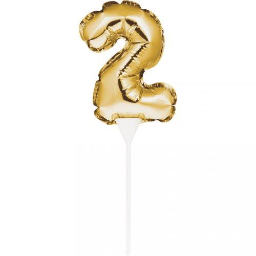 Decorazione per torta - Palloncino d oro numero 2