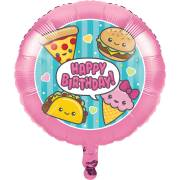 Palloncino piatto Kawaïï Food Happy Birthday