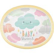 8 Piatti Maxi Nuvole Baby Shower