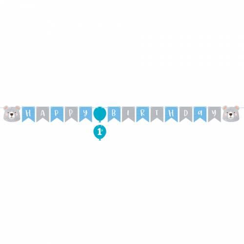 Ghirlanda Happy Birthday baby orso